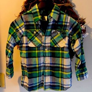Kids Oshkosh Button Down Shirt Green White